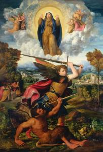 Saint Michael with the Devil and Our Lady of the Assumption Between Angels by Dosso Dossi
