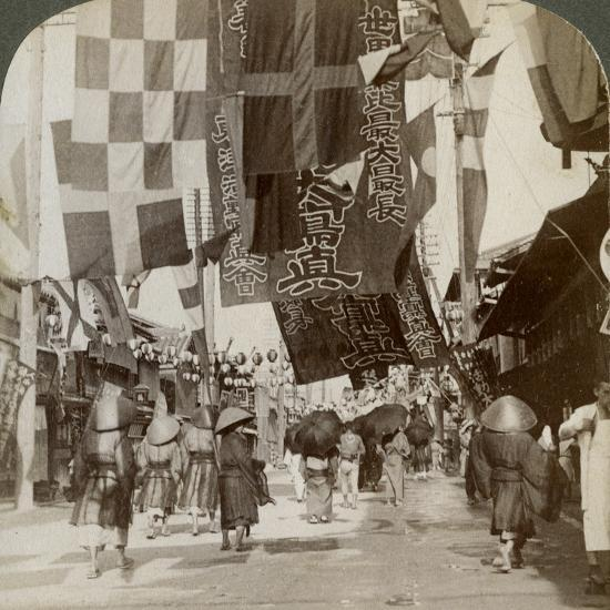 Dotombori, or Theatre Street, Osaka, Japan, 1904-Underwood & Underwood-Photographic Print