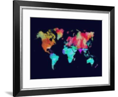 Dotted World Map 5-NaxArt-Framed Art Print