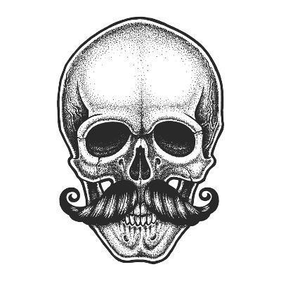 Dotwork Styled Skull with Moustache. Hand Drawn Illustration. T-Shirt Design.- Mr_Bachinsky-Art Print