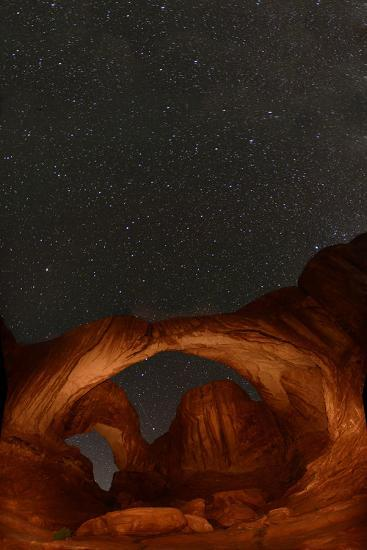 Double Arch at Night in Arches National Park-Raul Touzon-Photographic Print