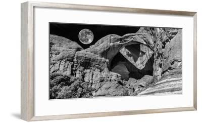 Double Arch with Moon at Arches National Park, Moab, Utah, USA--Framed Photographic Print
