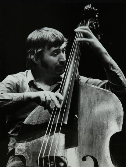 Double Bassist Ron Mathewson Playing at the Forum Theatre, Hatfield, Hertfordshire, 23 January 1982-Denis Williams-Photographic Print