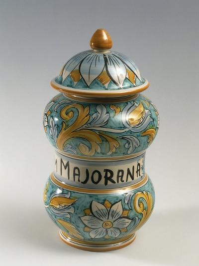 Double Belly Apothecary Jar with Ornate Decorations and 18th-Century Style Flowers--Giclee Print