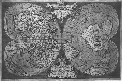 Double Cordiform World Map by Antonio Salamanca, Copperplateed in Roma 1550--Giclee Print