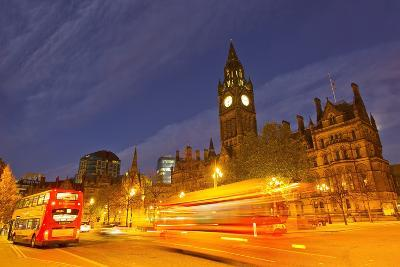 Double-Decker Buses Passing Manchester City Hall at Night-Mike Theiss-Photographic Print