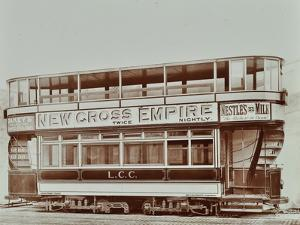 Double-Decker Electric Tram with Advertisement for the New Cross Empire, 1907