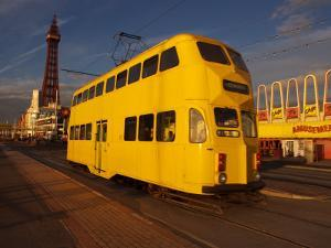 Double Decker Tram and Blackpool Tower, Blackpool Lancashire, England, United Kingdom, Europe