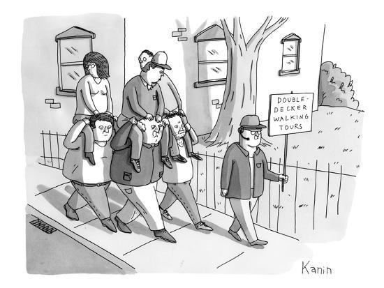 Double-Decker Walking Tours. - New Yorker Cartoon-Zachary Kanin-Premium Giclee Print