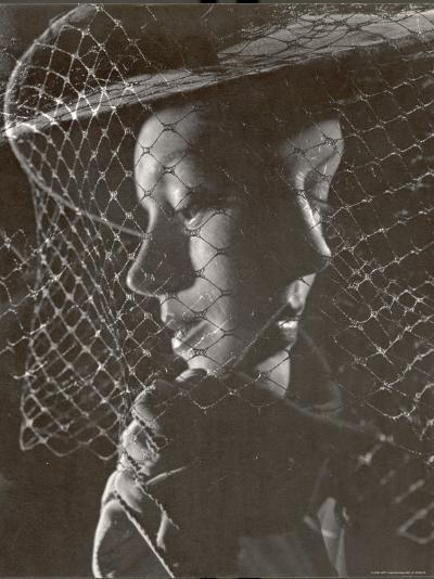 Double Exposure of Model Wearing Hat with Heavy Face Veil, c.1946-Gjon Mili-Photographic Print