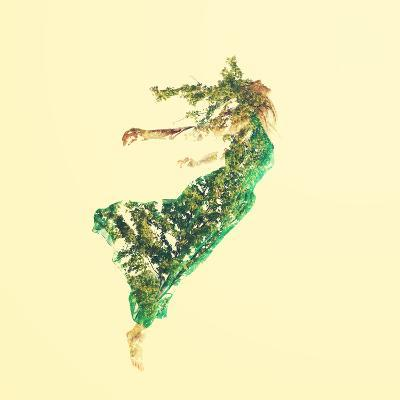 Double Exposure of Woman Flying with Leaves-Melpomene-Photographic Print