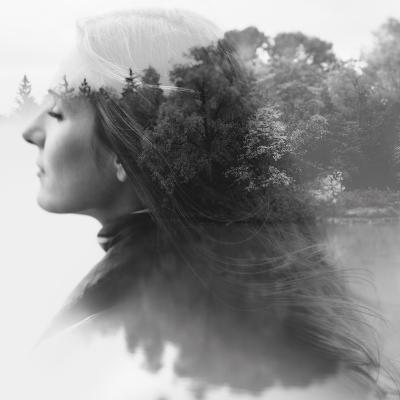Double Exposure of Young Female and the Forest near the Lake(Tilt-Shift Lens)-Kuzma-Photographic Print