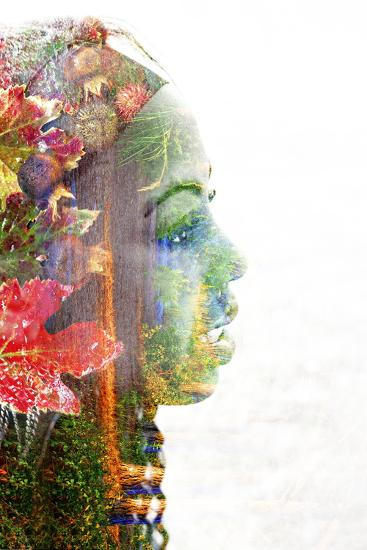 Double Exposure Portrait of A Young Woman with Colorful Flowers-illu-Photographic Print