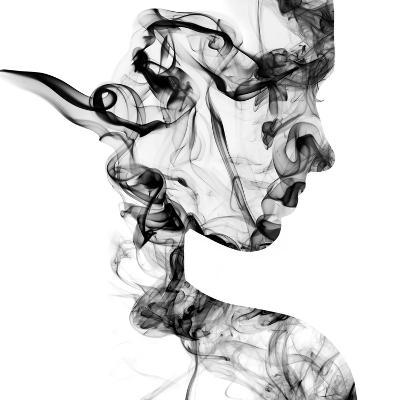 Double Exposure Portrait of Young Woman and Cigarette Smoke.-Vladimir Sazonov-Photographic Print