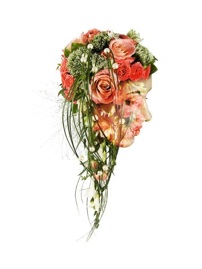 Double Exposure Portrait Of Young Woman With Bouquet Of Flowers Art Print By Vladimir Sazonov Art Com