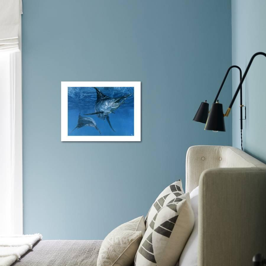 Double Header: Makaira Nigricans, Blue Marlin Inspect Baits While One  Devours a Ballyhoo Giclee Print by Stanley Meltzoff   Art com
