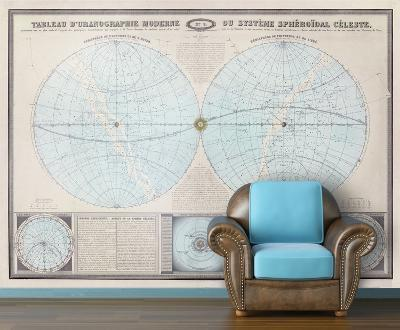 Double Hemisphere - 1862 Tableau Moderne - Vintage Self-Adhesive Wallpaper--Home Accessories