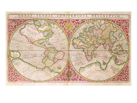 Double Hemisphere World Map 1587 Giclee Print By Gerardus Mercator