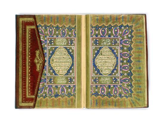 Double Page Spread from a Koran with Marginal Floral Decoration, Turkish, 1855--Giclee Print