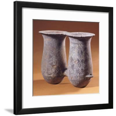 Double Pithoi, Geometric Patterned Terracotta from Milos, Greece--Framed Giclee Print
