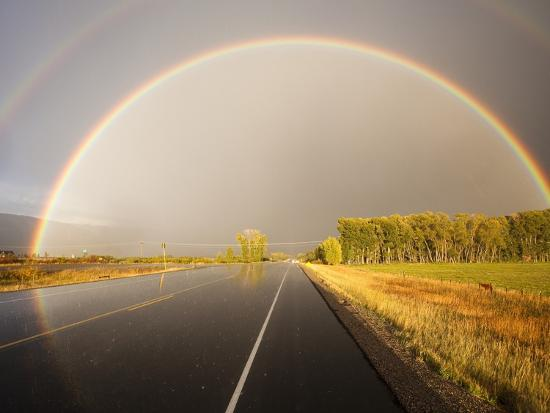 Double rainbow on country road in autumn-Frank Lukasseck-Photographic Print