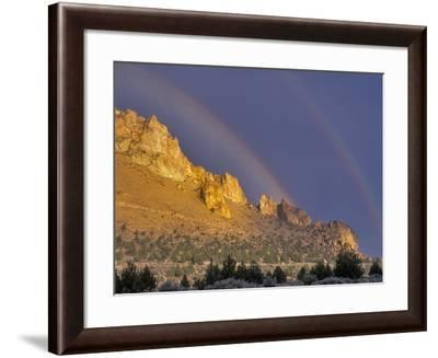 Double Rainbow over a Rock Formation Near Smith Rocks State Park, Bend, Central Oregon, Usa-Janis Miglavs-Framed Photographic Print