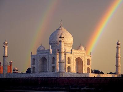 Double Rainbow over Taj Mahal Mausoleum, Agra, India-Jaynes Gallery-Photographic Print