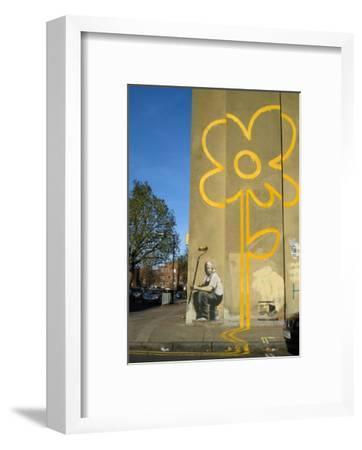Double Yellow Lines Flower-Banksy-Framed Art Print