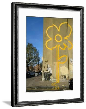 Double Yellow Lines Flower-Banksy-Framed Giclee Print