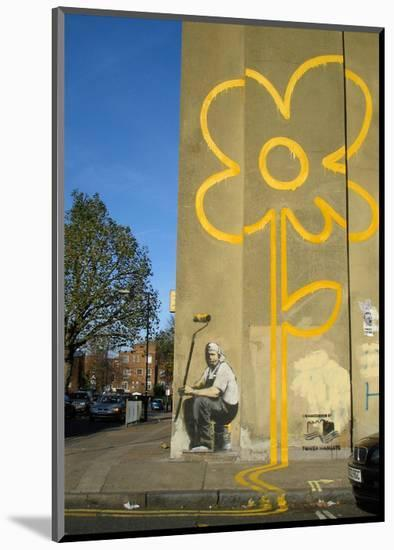 Double Yellow Lines Flower-Banksy-Mounted Giclee Print