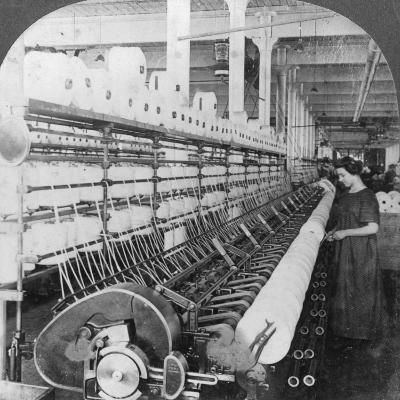 Doubling Frame in a Large Woollen Mill, Lawrence, Massachusetts, USA, Early 20th Century--Photographic Print