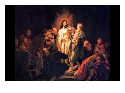 Doubting Thomas by Rembrandt-Rembrandt van Rijn-Art Print