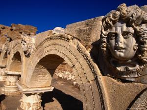Gorgon Medusa Head on the Arches of the Severan Forum, Leptis Magna, Al Khums, Libya by Doug McKinlay