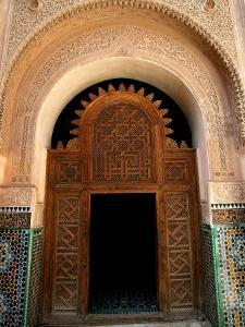 Intricate Wood and Stucco Work at Ali Ben Youssef Medersa, Marrakesh, Morocco by Doug McKinlay