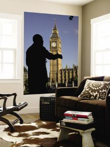 Statue of Nelson Mandela and Big Ben, Parliament Square by Doug McKinlay