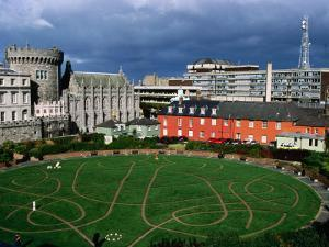 The Circular Garden of Dublin Castle with Its Carved Patterns in the Grass, Dublin, Ireland by Doug McKinlay