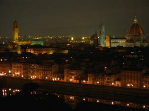 The Dome of Florence's Duomo and Its Landmark Torre d'Arnolfo at Night, Florence, Tuscany, Italy by Doug McKinlay