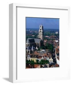 The Rooftops of Bruges and the Landmark Tower of 13th Century St. Salvatorskathedral, Belgium by Doug McKinlay