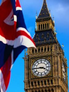 The Union Jack Flag and Big Ben, London, England by Doug McKinlay