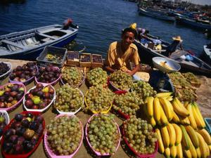 Vendor Selling Fruit at the Fish Market, Tripoli, Tarabulus, Libya by Doug McKinlay