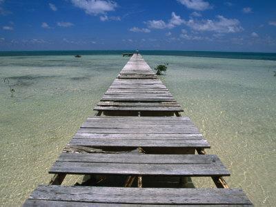 Wooden Pier with Broken Planks, Ambergris Caye, Belize
