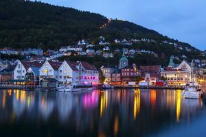 Bergen's Picturesque Bryggen District Illuminated at Dusk by Doug Pearson
