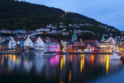 Bergen's Picturesque Bryggen District Illuminated at Dusk