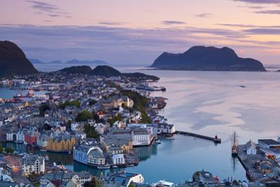Elevated View over Alesund Illuminated at Dusk