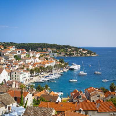Elevated View over Hvar's Picturesque Harbour, Stari Grad (Old Town), Hvar, Dalmatia, Croatia by Doug Pearson