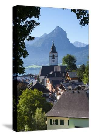 Elevated View over Parish Church and St. Wolfgang, Wolfgangsee Lake, Flachgau