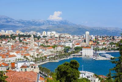 Elevated View over Split's Picturesque Stari Grad and Harbour, Split, Dalmatia, Croatia, Europe