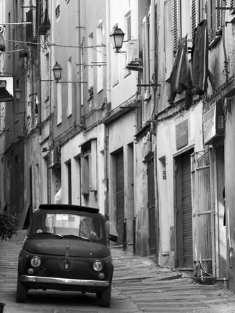 Fiat Driving in Narrow Street, Sassari, Sardinia, Italy