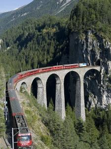 Glacier Express and Landwasser Viaduct, Filisur, Graubunden, Switzerland by Doug Pearson