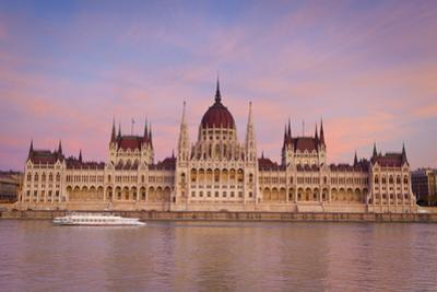 Hungarian Parliament Building and the River Danube at Sunset, Budapest, Hungary, Europe by Doug Pearson